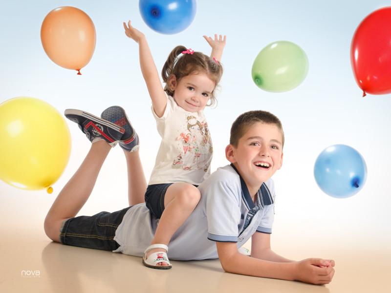 Fotos, niños, estudio, globos