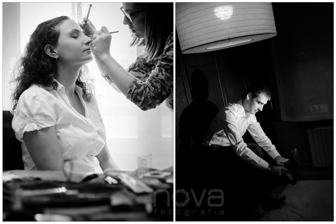 novia maquillándose y novio esperando