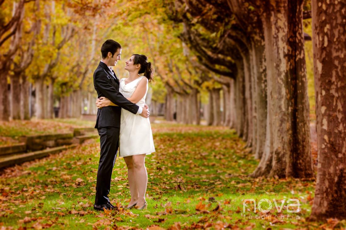 Pareja de novios en otoño en el parque